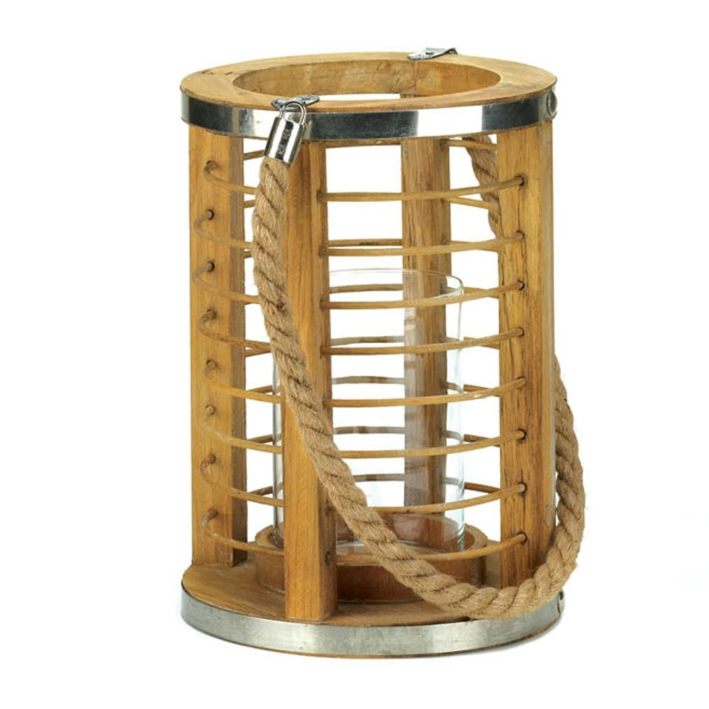 Preferred Decorative Candle Lanterns, Outdoor Patio Strand Wood Candle Lantern In Outdoor Table Lanterns (Gallery 19 of 20)