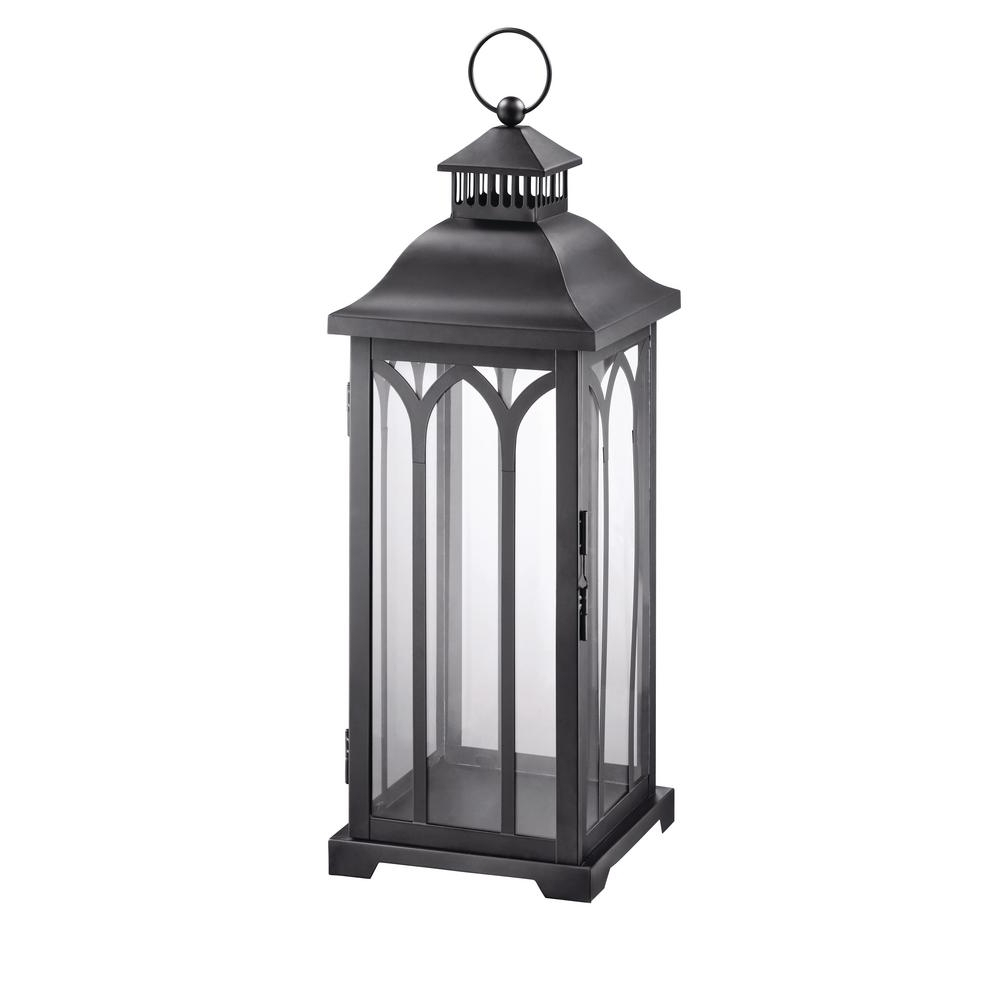 Preferred Hampton Bay 30 In. Metal Lantern In Black Hd16007Xl – The Home Depot Throughout Xl Outdoor Lanterns (Gallery 4 of 20)