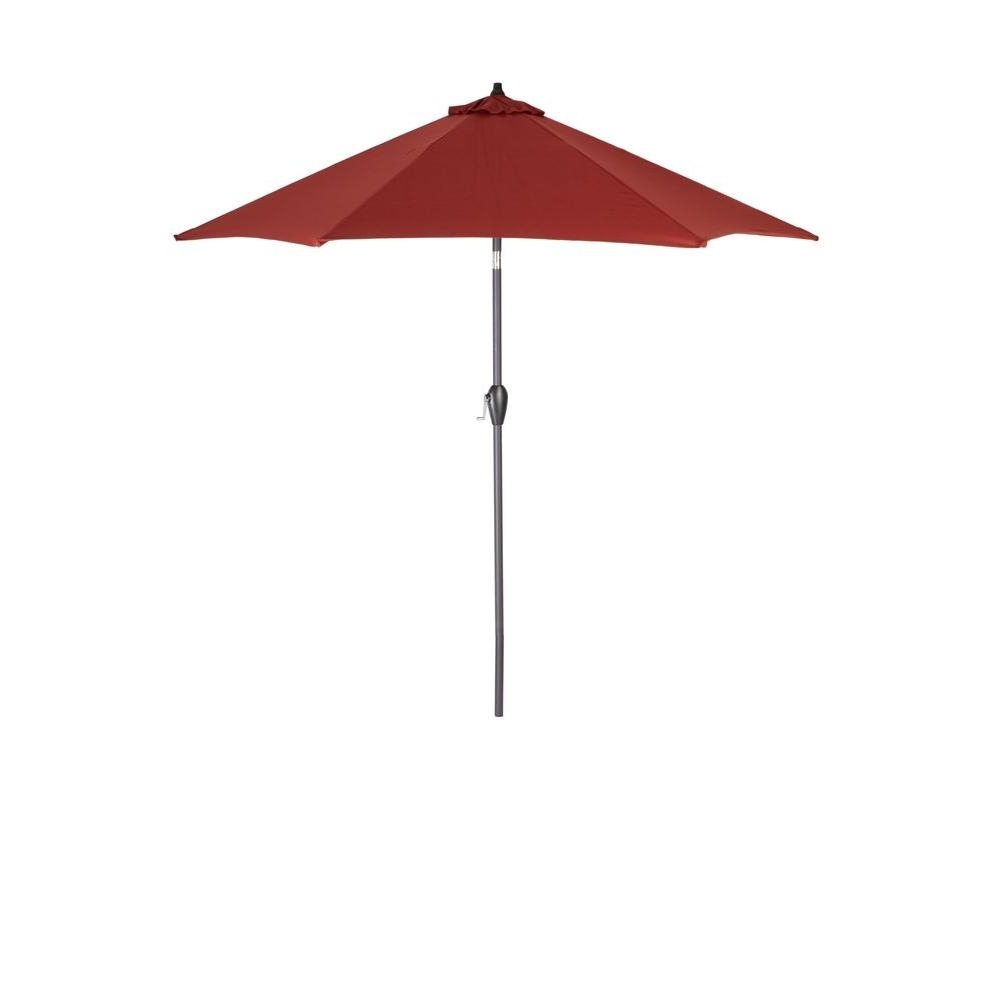 Preferred Hampton Bay 9 Ft. Aluminum Patio Umbrella In Chili 9900 01004011 Inside Home Depot Patio Umbrellas (Gallery 7 of 20)