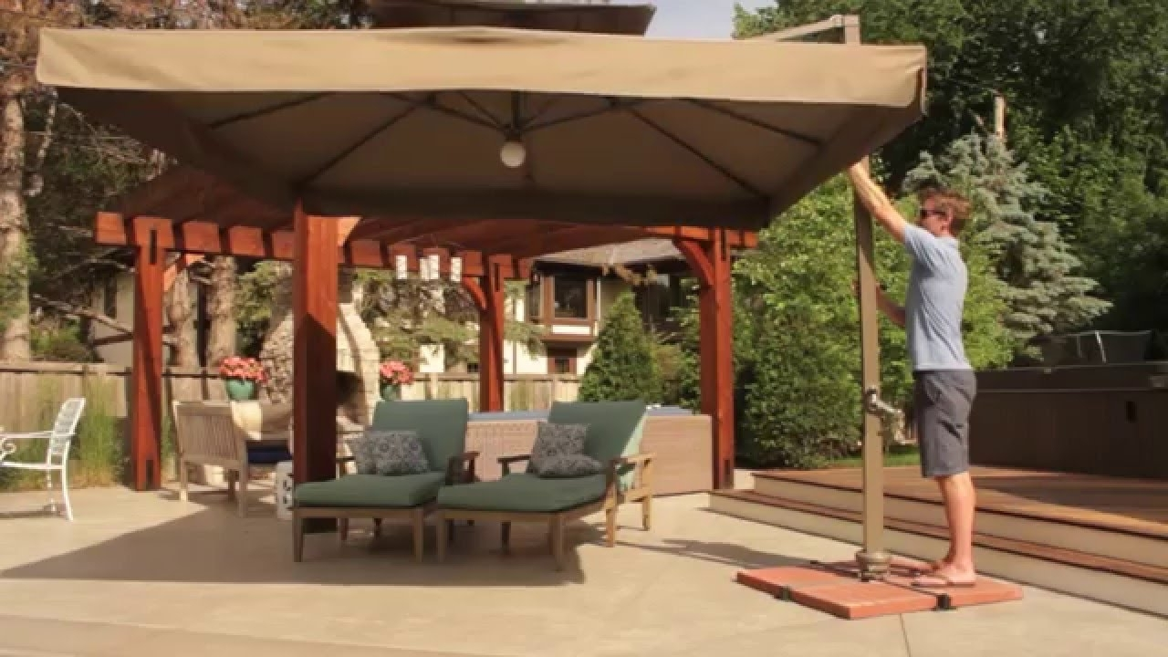 Preferred Offset Cantilever Patio Umbrellas In Vrienden Offset Cantilever Umbrella With Lights – Youtube (View 17 of 20)