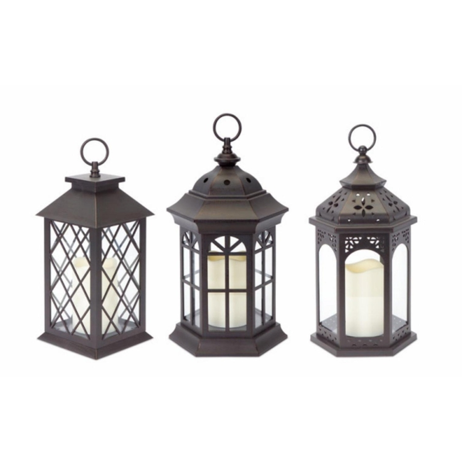 Preferred Outdoor Lanterns With Battery Operated Candles Throughout Shop Pack Of 3 Dark Brown Battery Operated Outdoor Led Candle (View 17 of 20)