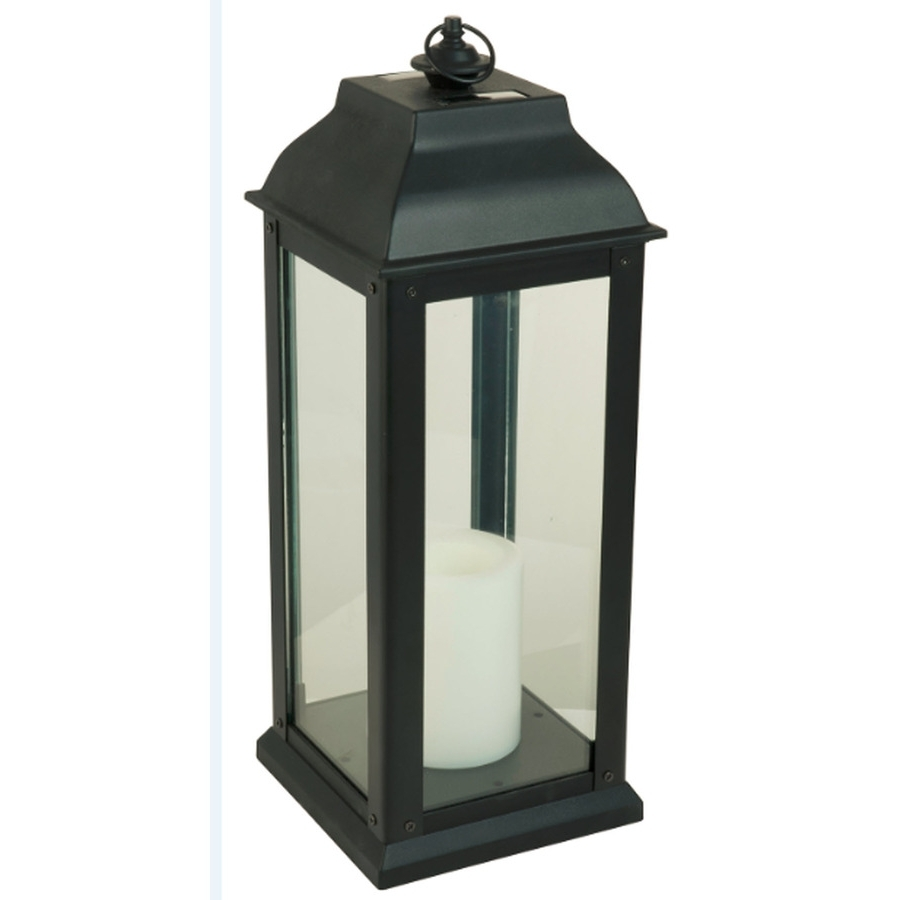 Preferred Outdoor Lanterns With Flameless Candles For Shop 5.94 In X 16 In Black Glass Solar Outdoor Decorative Lantern At (Gallery 12 of 20)
