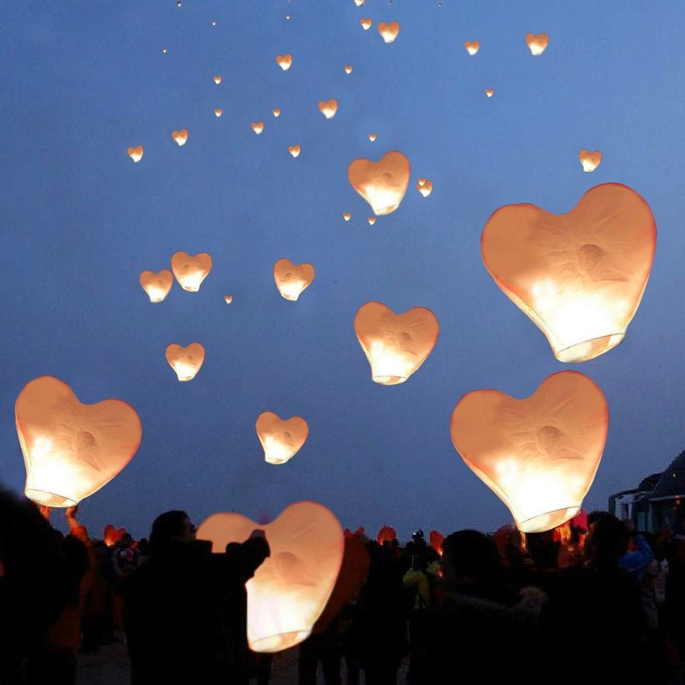 Preferred Outdoor Memorial Lanterns Intended For 20 White Heart Paper Chinese Lanterns Sky Fly Candle Lamps Wishing (View 14 of 20)