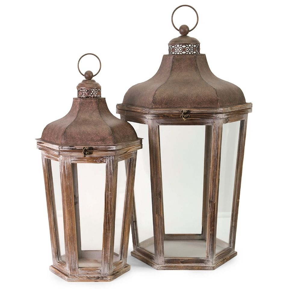 Preferred Outdoor Oversized Lanterns Throughout Imax 2 Piece Layla Oversized Lantern Set (View 19 of 20)