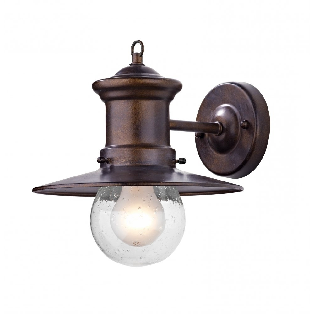 Preferred Outdoor Porch Lanterns Within Rustic Outdoor Wall Light In Bronze Finish With Glass Shade (View 10 of 20)