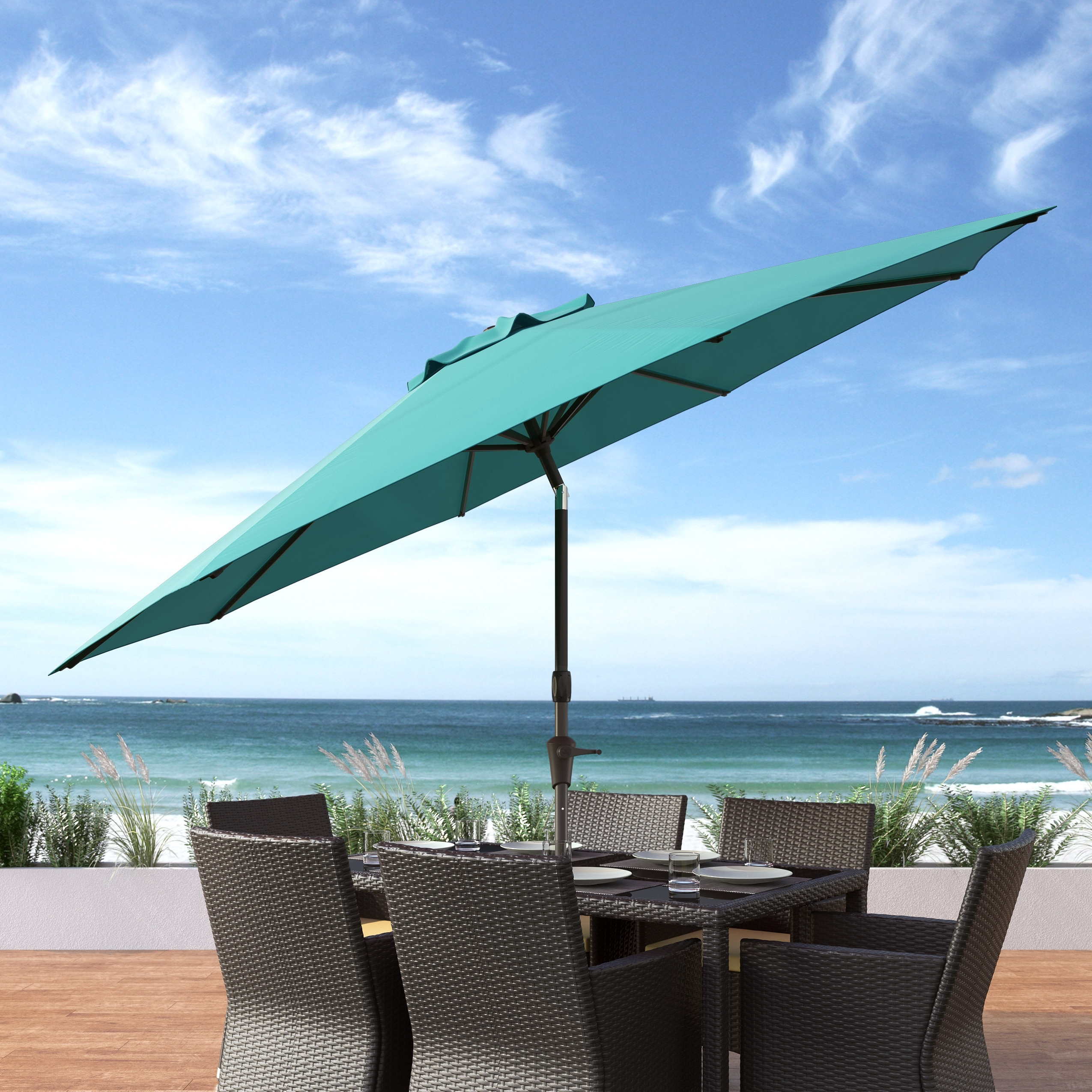Preferred Shop Corliving Uv And Wind Resistant Tilting Patio Umbrella – Free Intended For Wind Resistant Patio Umbrellas (View 11 of 20)