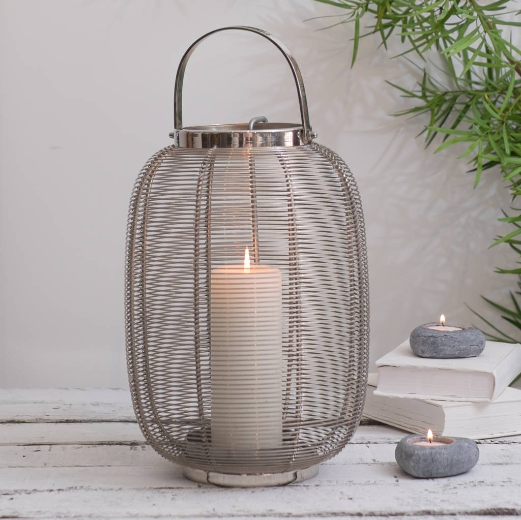 Preferred Silver Hurricane Lantern Indoor And Outdoorza Za Homes Throughout Outdoor Grey Lanterns (View 20 of 20)