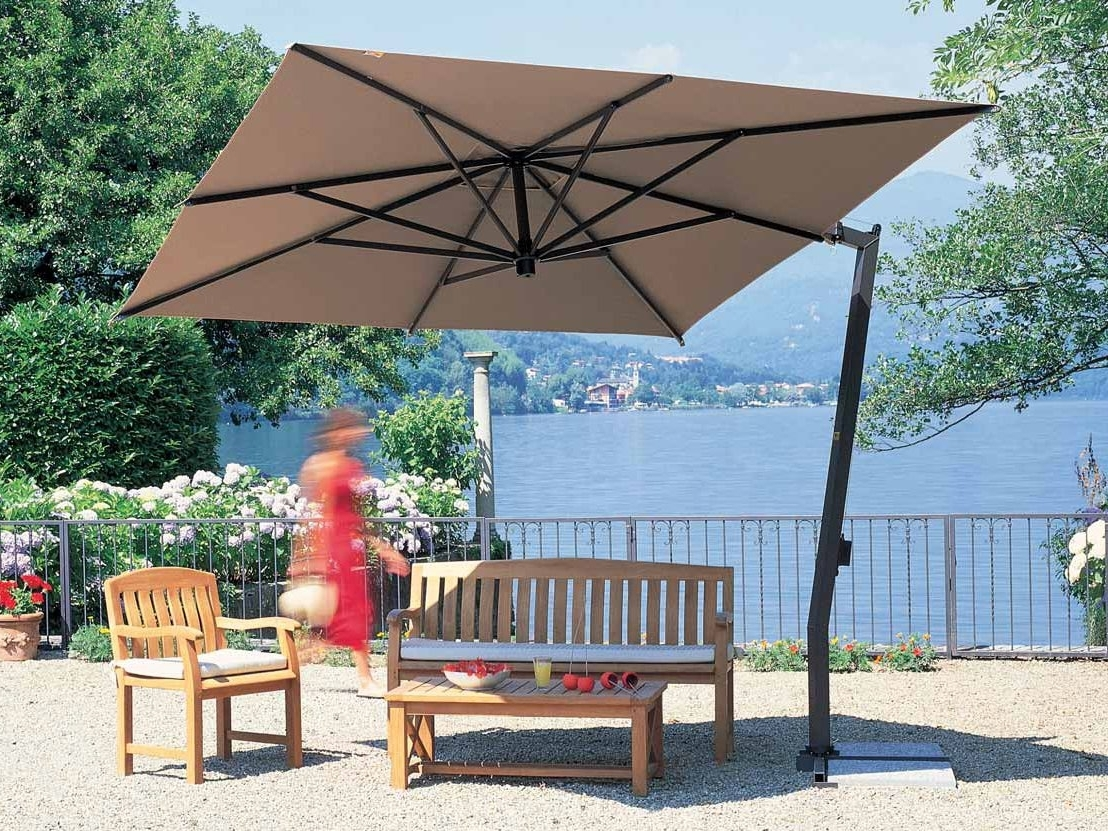 Pretty Square Offset Patio Umbrella Red Polyester Shade Mosquito With Regard To Fashionable Square Patio Umbrellas (View 13 of 20)