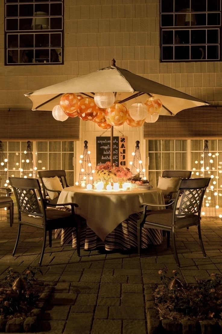 Pro Tip: No Need To Take Your Patio Umbrella Down For An Evening Throughout Well Known Outdoor Paper Lanterns For Patio (Gallery 6 of 20)