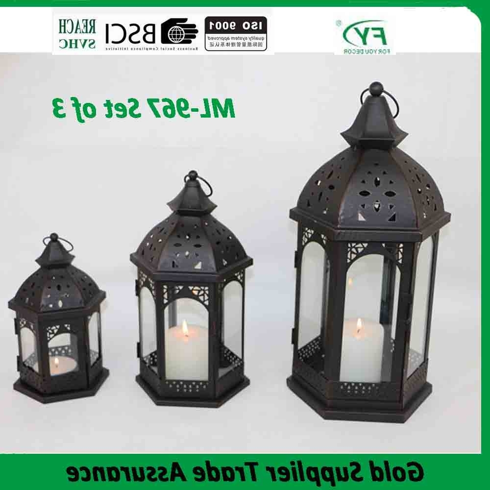 Product – Ml 967 Set Of 3 Outdoor Decorative Wholesale Moroccan Pertaining To Best And Newest Set Of 3 Outdoor Lanterns (View 10 of 20)
