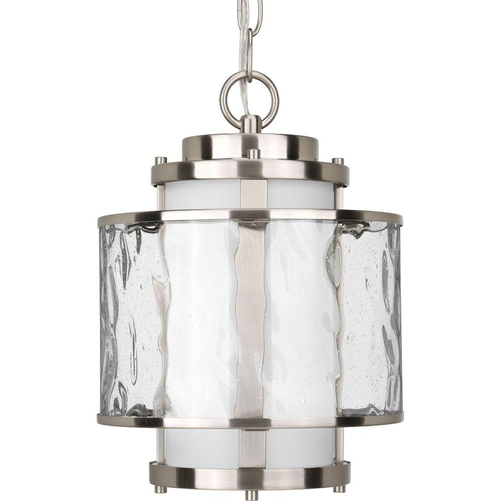 Progress Lighting Bay Court Collection Brushed Nickel Outdoor In Fashionable Outdoor Pendant Lanterns (View 9 of 20)