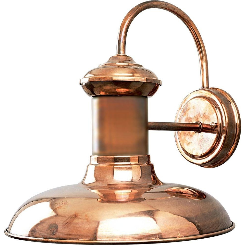 Progress Lighting Brookside Collection 1 Light Solid Copper Led For Favorite Copper Outdoor Lanterns (View 17 of 20)