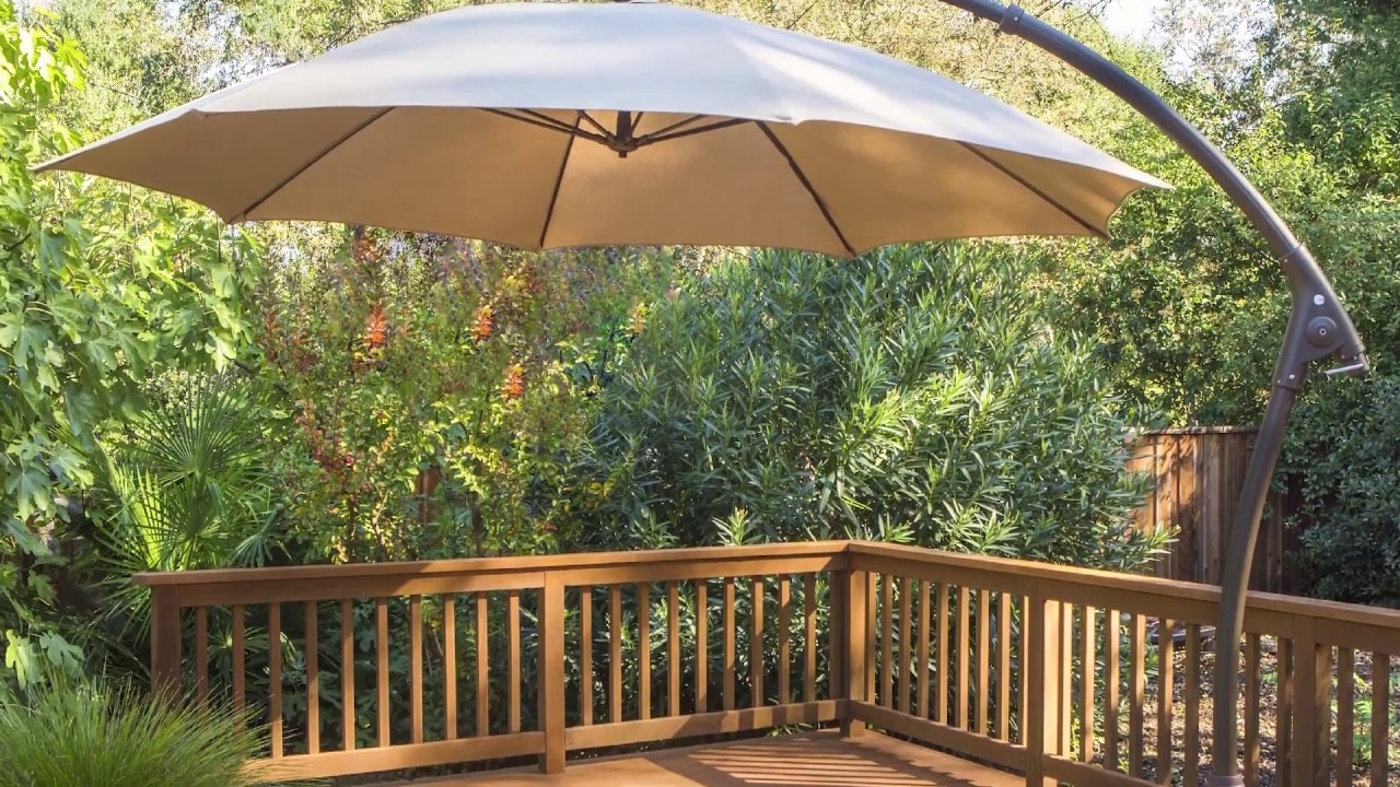 Proshade 11ft Cantilever Umbrella Video Instruction – Youtube With Regard To Favorite Patio Deck Umbrellas (View 10 of 20)