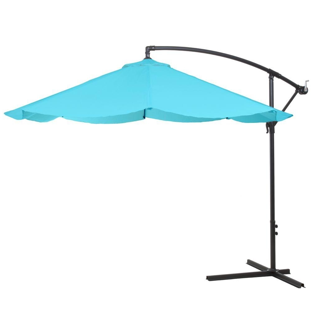 Pure Garden 10 Ft. Offset Aluminum Hanging Patio Umbrella In Blue With Regard To Most Popular Hanging Patio Umbrellas (Gallery 5 of 20)