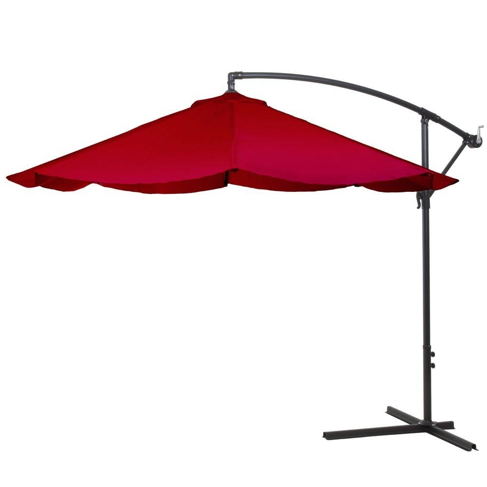 Pure Garden 10 Ft. Offset Aluminum Hanging Patio Umbrella In Red Intended For Fashionable Hanging Patio Umbrellas (Gallery 3 of 20)