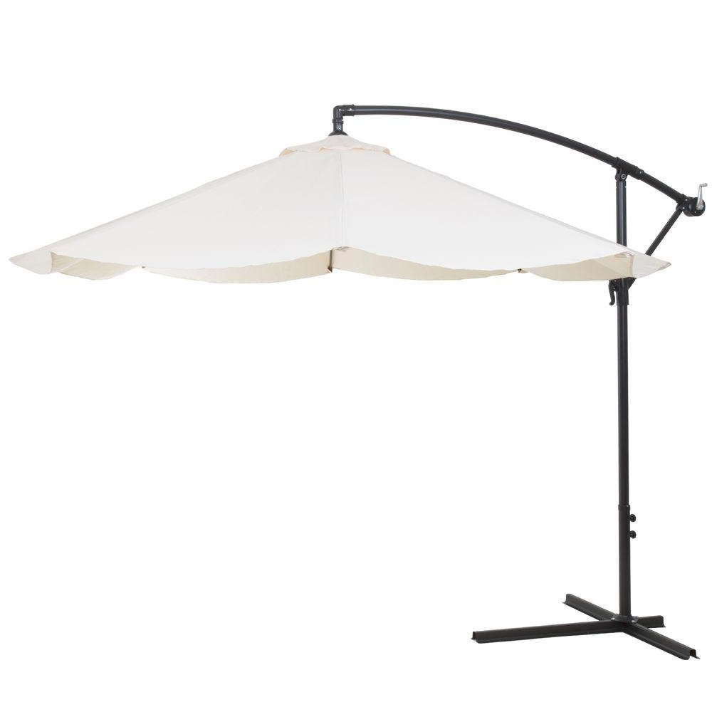 Pure Garden 10 Ft. Offset Aluminum Hanging Patio Umbrella In Tan Throughout Most Recent Hanging Offset Patio Umbrellas (Gallery 4 of 20)