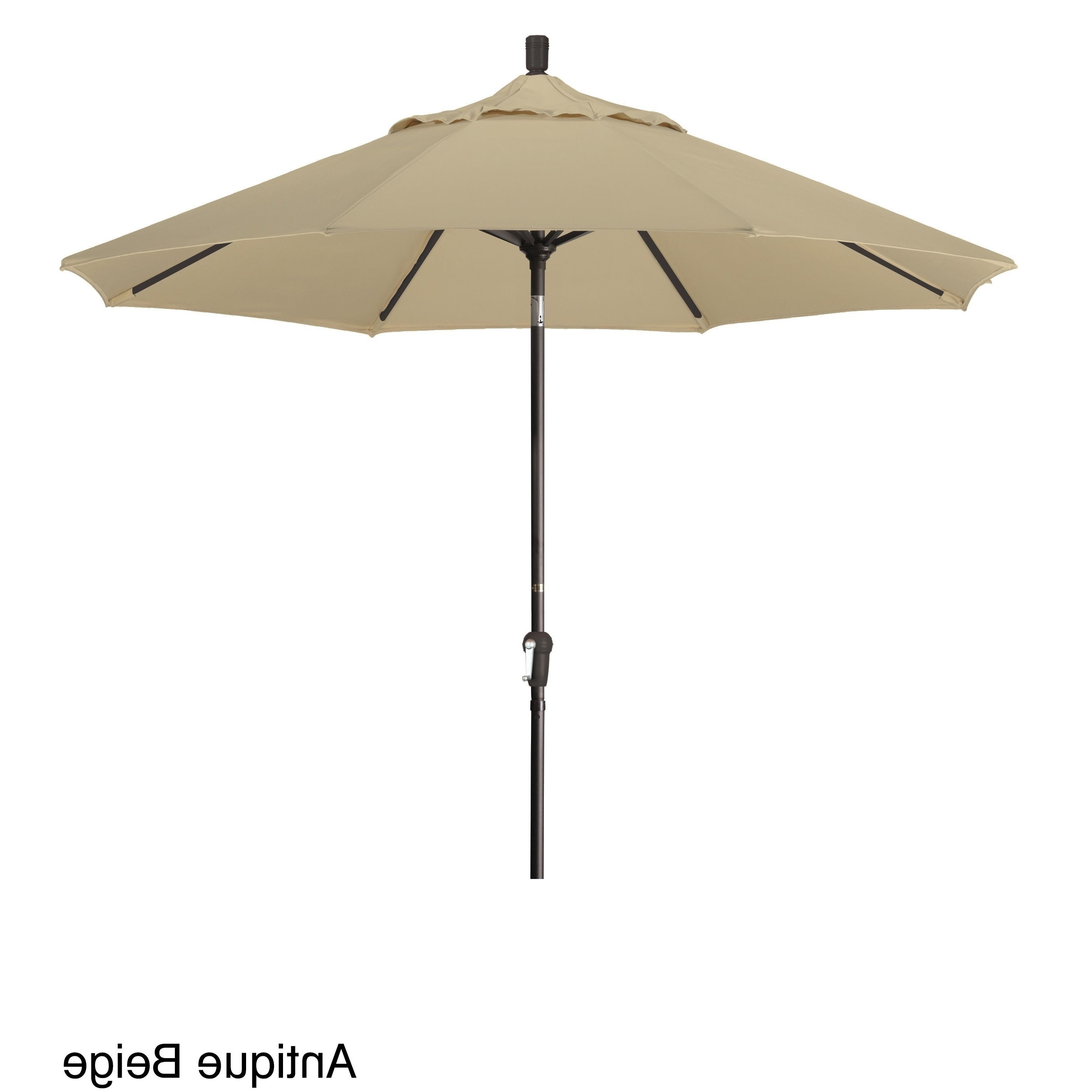Recent California Umbrella 9' Round Aluminum Crank Open Auto Tlit Market Regarding Sunbrella Teak Umbrellas (Gallery 12 of 20)