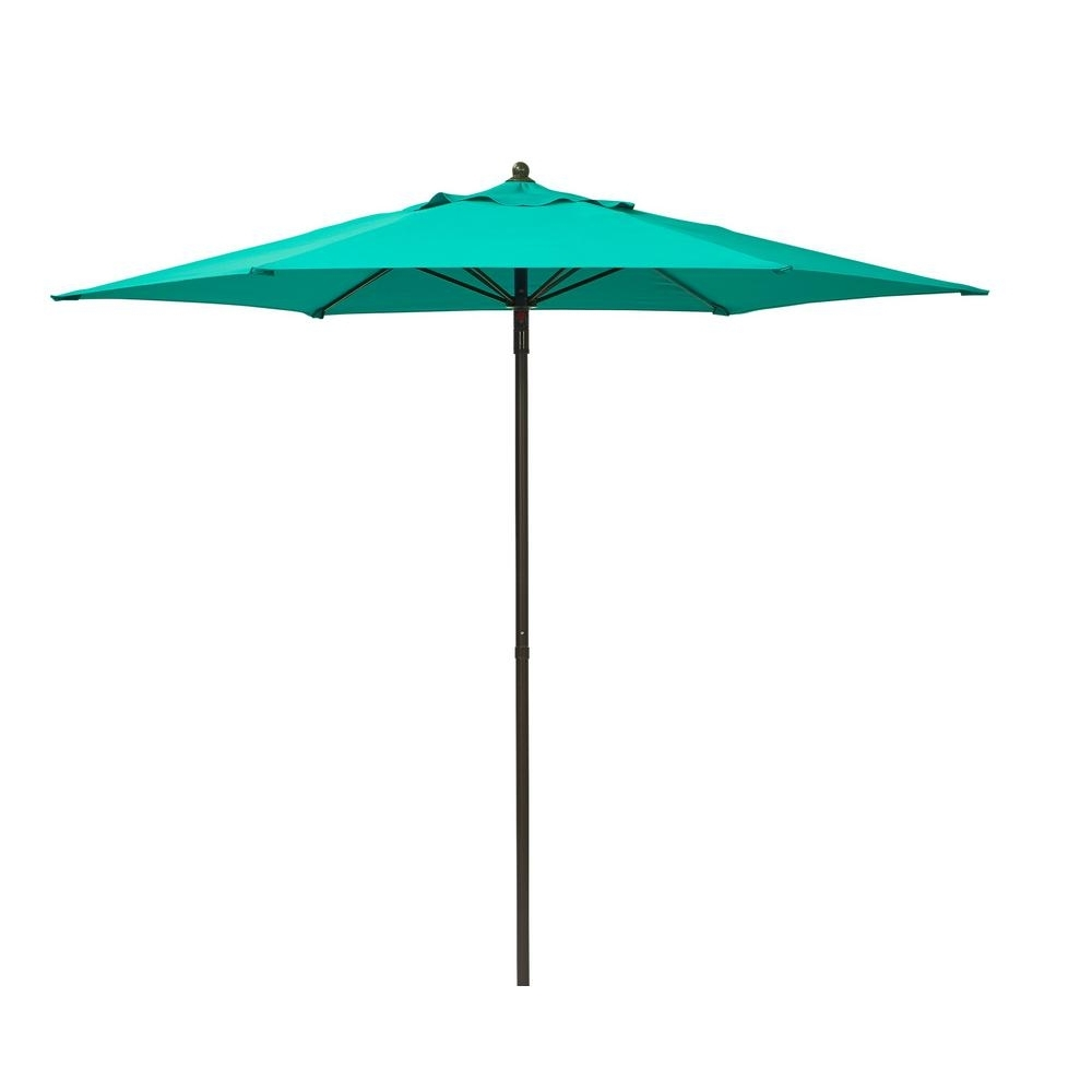 Recent Hampton Bay 7 1/2 Ft. Steel Push Up Patio Umbrella In Emerald Coast In Hampton Bay Patio Umbrellas (Gallery 19 of 20)