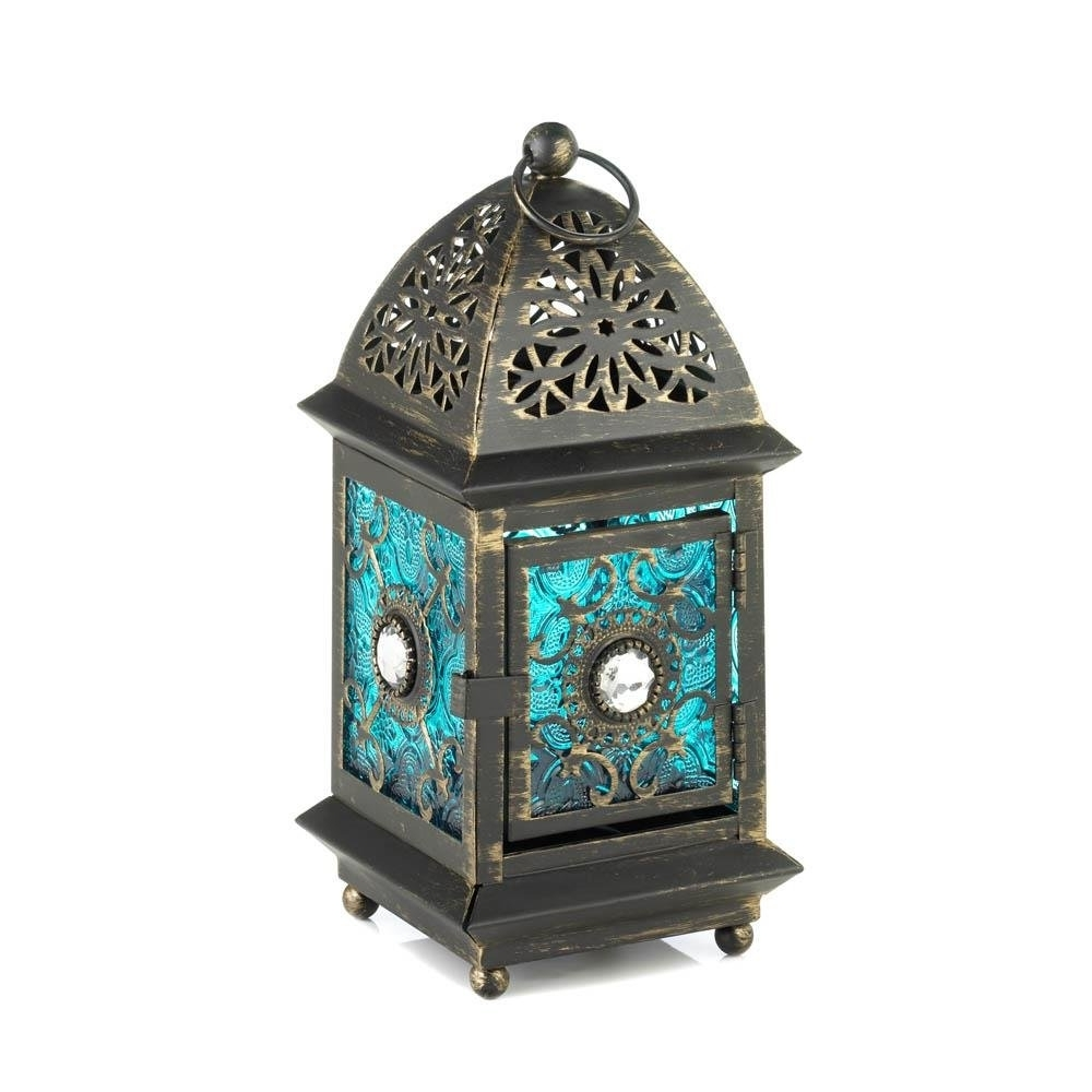 Recent Lanterns Outdoor, Jeweled Blue Metal Decorative Floor Patio Outdoor Throughout Antique Outdoor Lanterns (View 15 of 20)