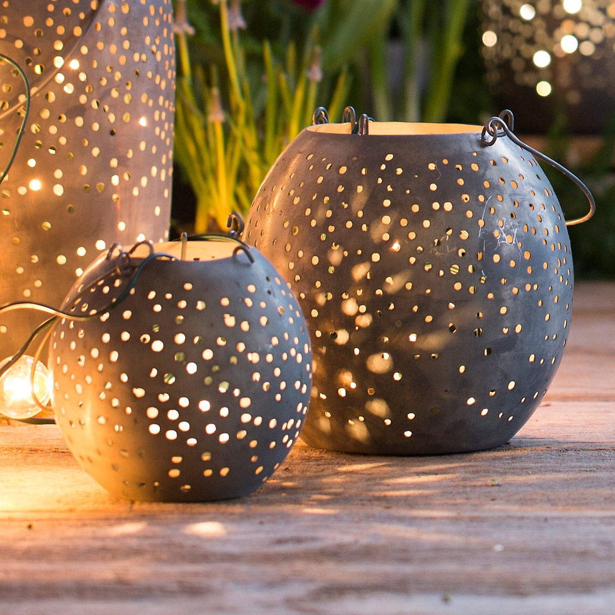 Recent Metal Outdoor Lanterns Within Round Punched Gunmetal Lanterns – The Green Head (View 10 of 20)