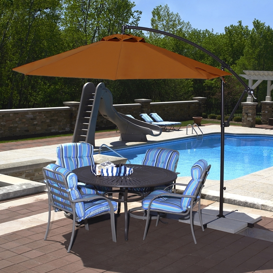 Recent Offset Patio Umbrellas With Base With Shop Blue Wave Santiago Terra Cotta Offset 10 Ft Patio Umbrella With (Gallery 11 of 20)