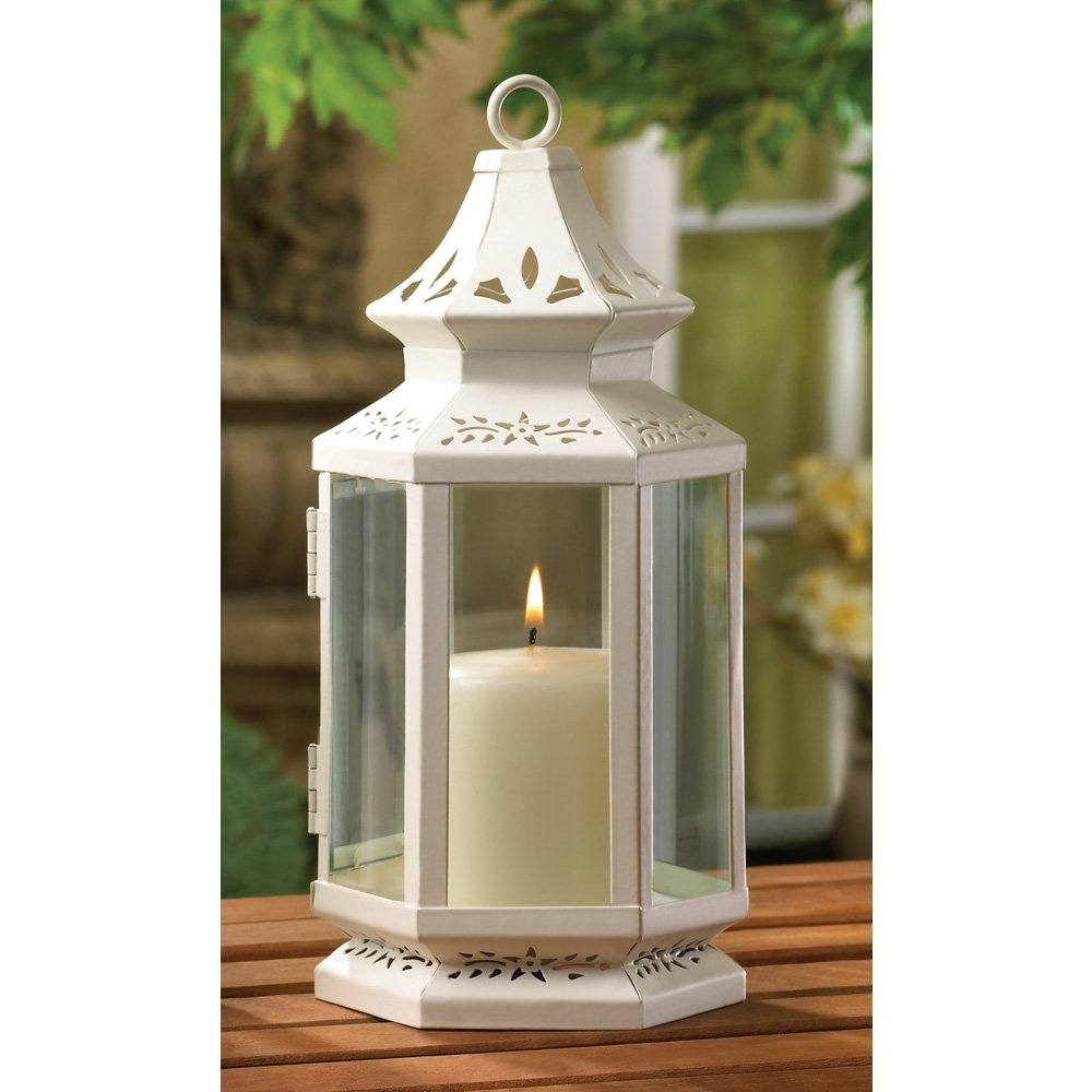 Recent Outdoor Oil Lanterns Regarding White Lantern Candle, Iron Victorian Style Outdoor Metal Candle (Gallery 14 of 20)