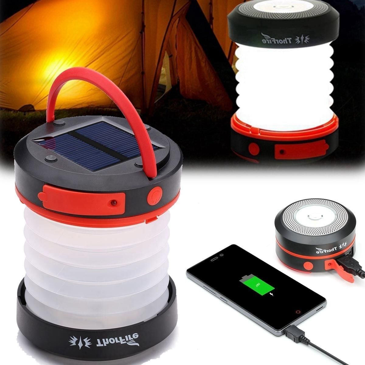 Recent Outdoor Rechargeable Lanterns Pertaining To Thorfire Solar Led Camping Lantern Usb Rechargeable Light For (View 16 of 20)