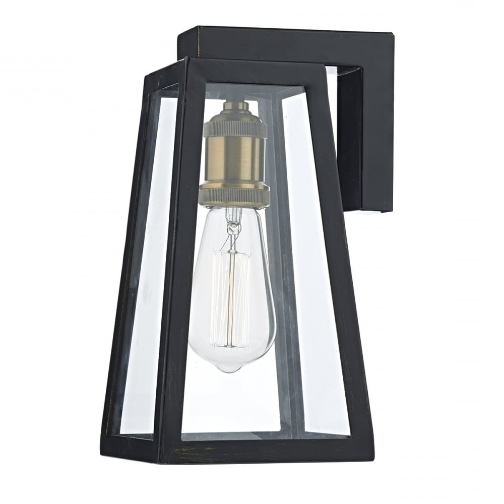 Recent Outdoor Vintage Lanterns With Regard To Tapered Matt Black Outdoor Wall Lantern With Clear Glass – Ip (View 3 of 20)