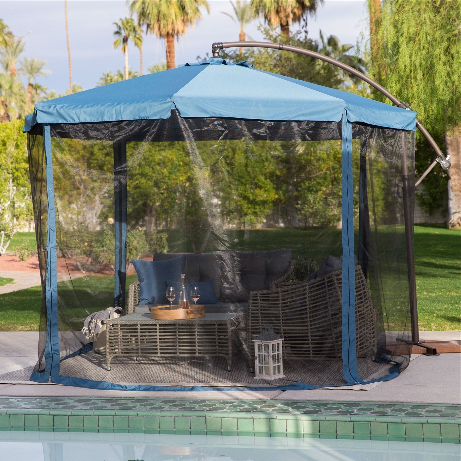 Recent Patio Umbrella With Mosquito Netting Within Patio Umbrellas With Netting (View 15 of 20)