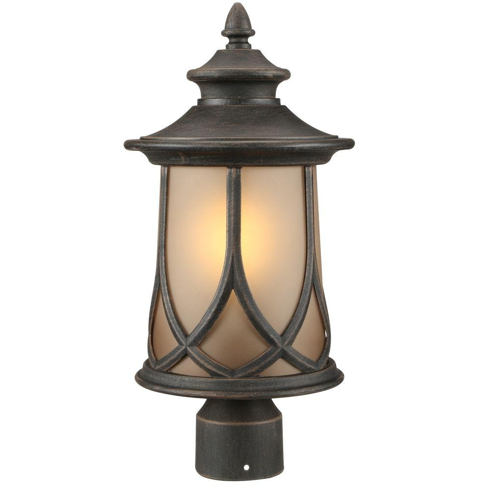 Recent Progress Lighting Resort Collection 1 Light Aged Copper Outdoor Post Within Outdoor Post Lanterns (Gallery 1 of 20)