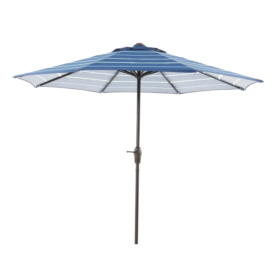 Recent Striped Patio Umbrellas Inside Shop Garden Treasures Blue Stripe Market Patio Umbrella (common: 9 (Gallery 10 of 20)