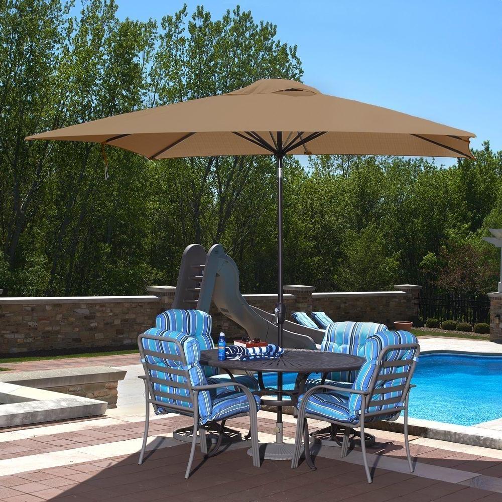 Rectangle – Market Umbrellas – Patio Umbrellas – The Home Depot Regarding Well Known Sunbrella Patio Umbrellas With Solar Lights (View 7 of 20)