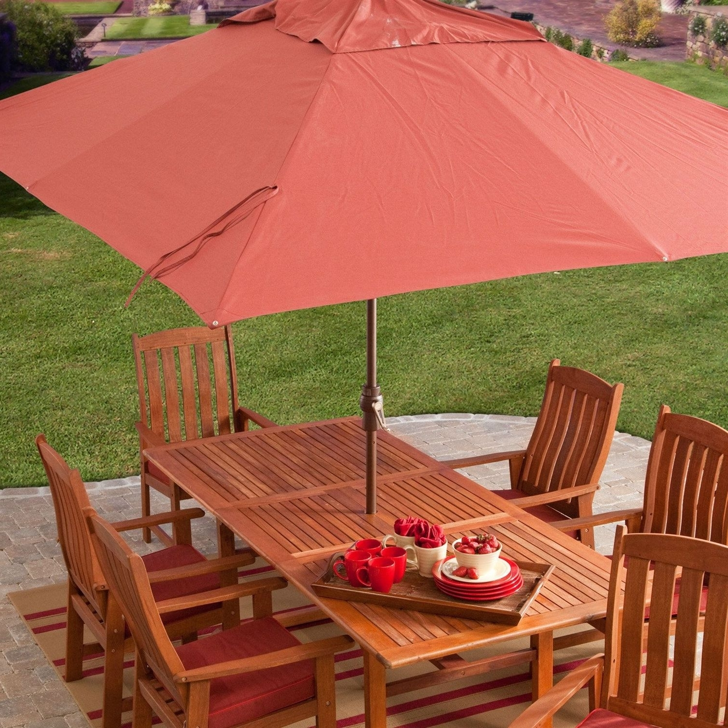 Rectangle Patio Umbrellas Intended For Latest 8 X 11 Ft Rectangle Patio Umbrella With Red Orange Terracotta Canopy (Gallery 11 of 20)