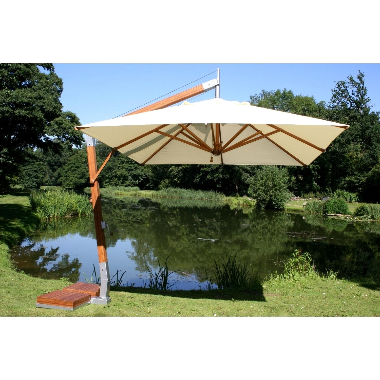 Rectangular Offset Patio Umbrellas Pertaining To 2019 Awesome Bamboo Cantilever Umbrella Patio Umbrellas Set Umbrella (Gallery 8 of 20)