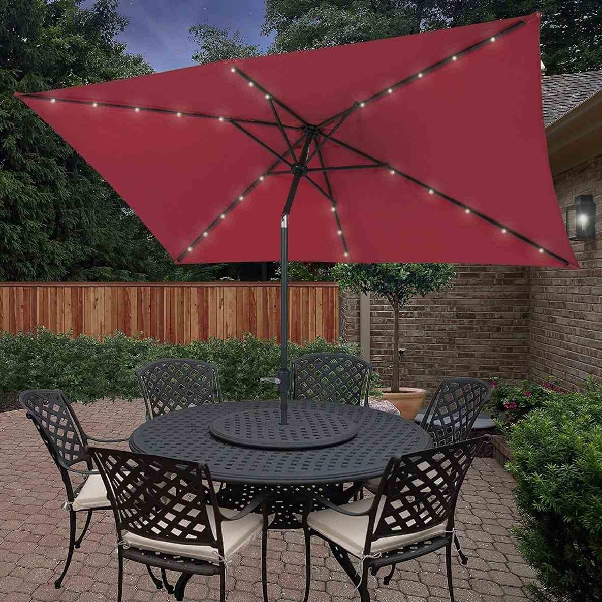 Rectangular Patio Umbrella With Solar Lights (View 17 of 20)