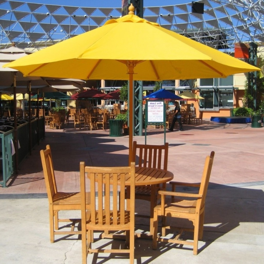 Rectangular Patio Umbrellas Throughout Famous Orange Rectangular Patio Umbrella With Solar Lights And Teak Ladder (View 14 of 20)