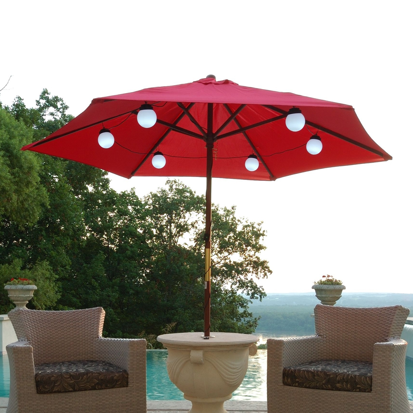 Red Outdoor Table Lanterns In Preferred Patio Living Concepts 080 Bright White Led Solar Powered Umbrella (View 11 of 20)