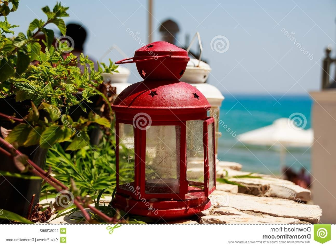 Red Outdoor Table Lanterns Intended For Latest Red Small Lantern As Decoration At A Seacoast Restaurant (View 12 of 20)