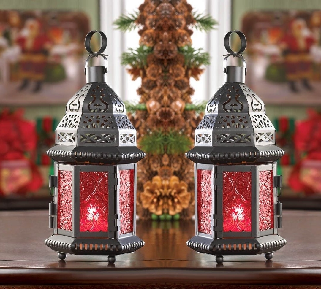 "Red Outdoor Table Lanterns Pertaining To Favorite 2 Red Moroccan Candle Holder 10"" Tall Lantern Terrace Outdoor Garden (Gallery 10 of 20)"