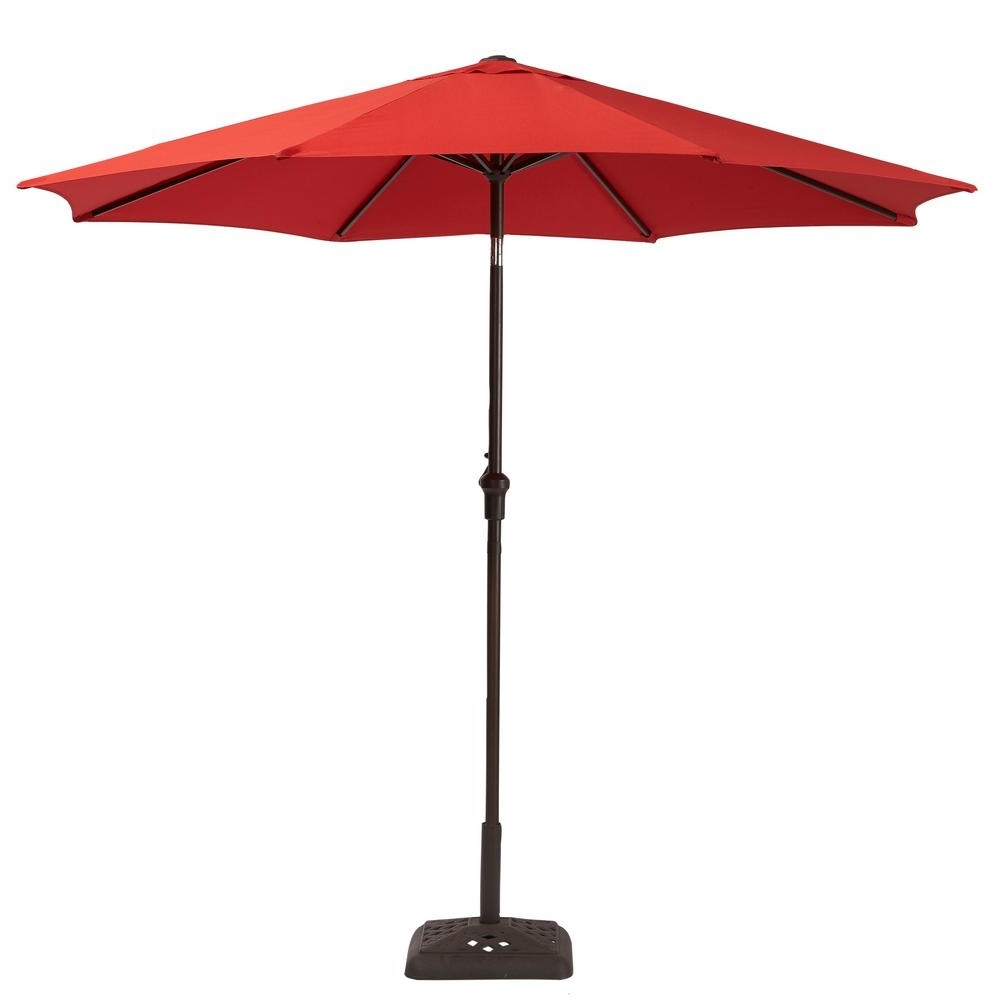 Red Patio Umbrellas Within Famous Hampton Bay 9 Ft. Steel Crank And Tilt Patio Umbrella In Ruby Yjauc (Gallery 2 of 20)