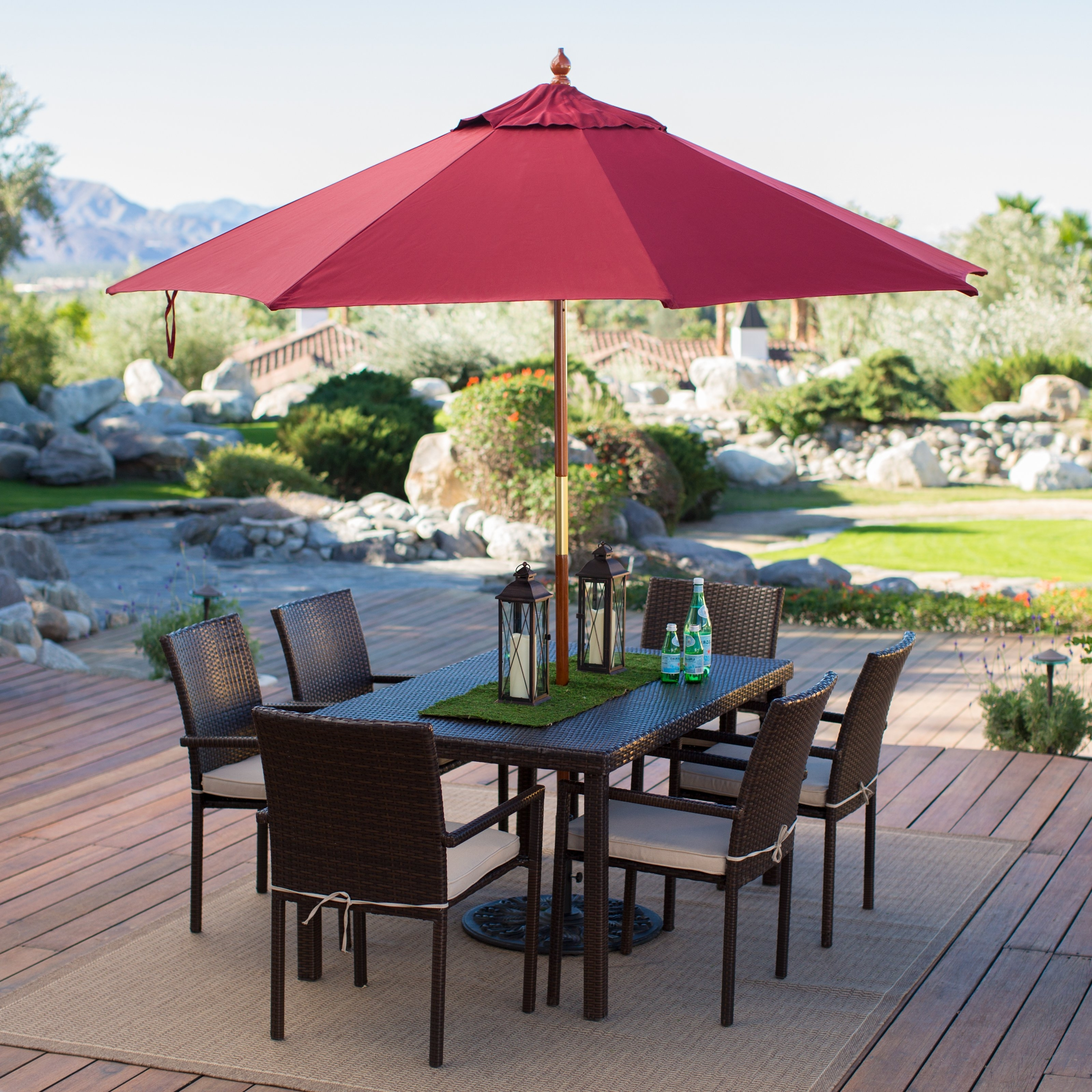 Red Sunbrella Patio Umbrellas In Most Popular Belham Living 9 Ft (View 5 of 20)