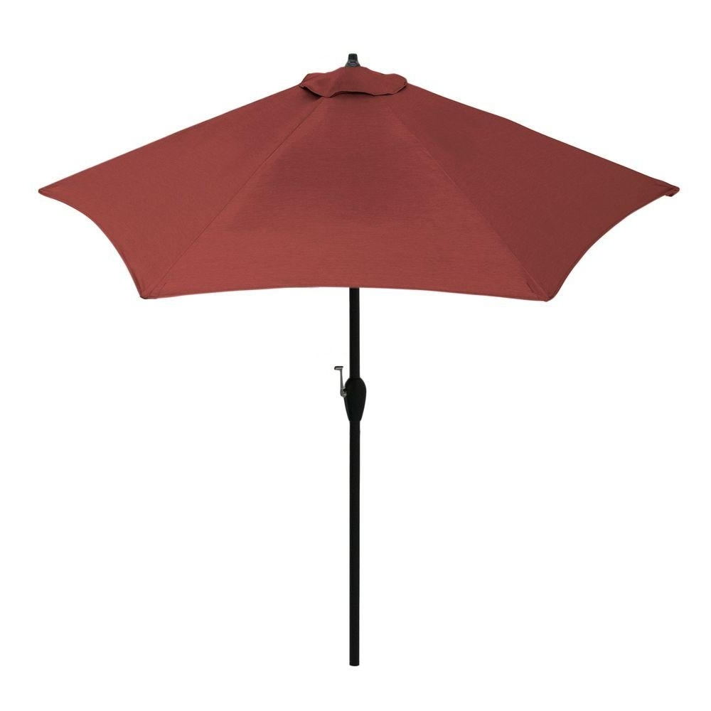 Red Sunbrella Patio Umbrellas Regarding Well Known Hampton Bay 9 Ft (View 12 of 20)