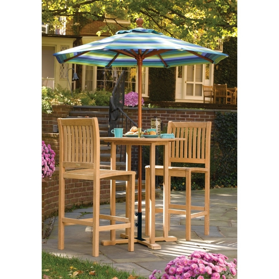 Romantic Maple Wood Dining Chair And Table Decor With Colorful With Regard To 2018 Patio Umbrellas For Bar Height Tables (View 10 of 20)