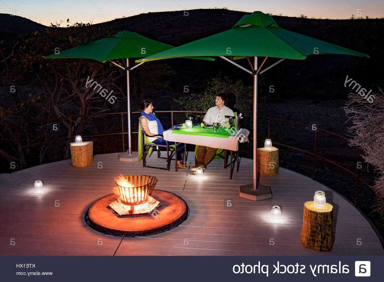 Romantic Outdoor Dinner Lanterns Stock Photos & Romantic Outdoor Inside Newest Outdoor Dining Lanterns (View 17 of 20)
