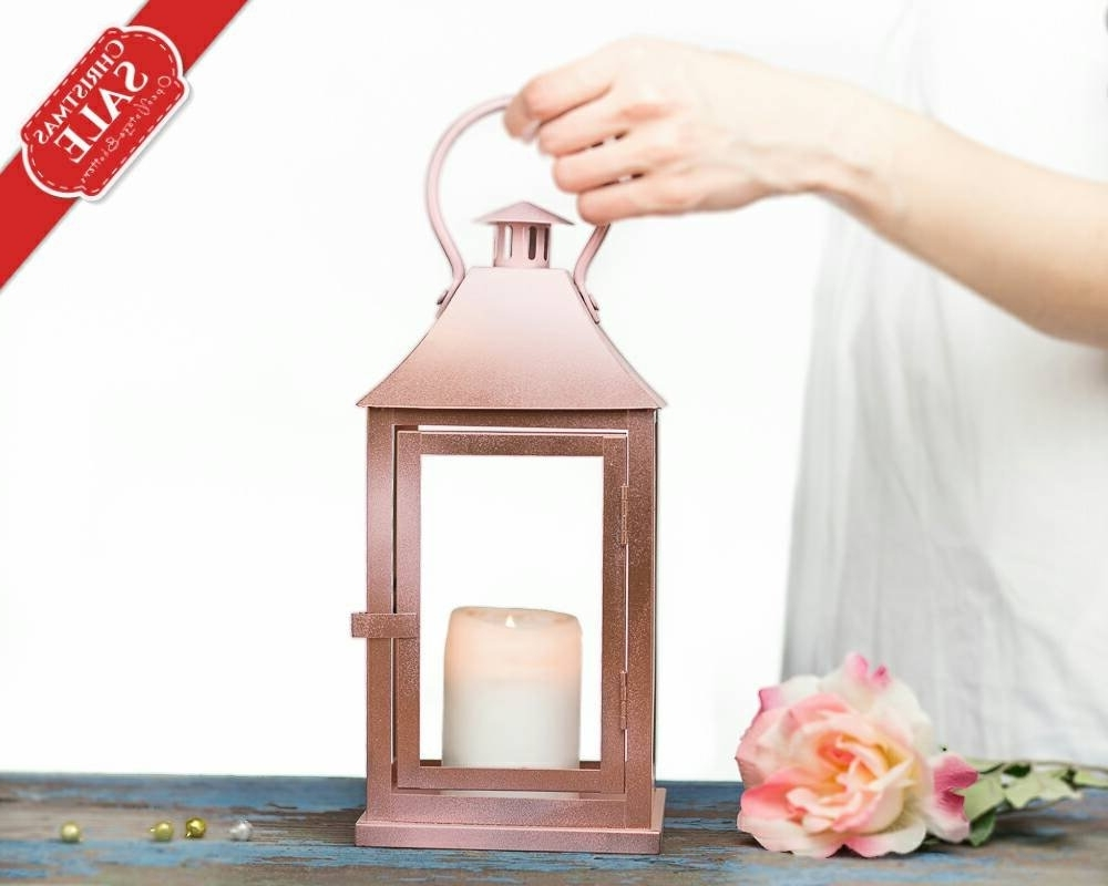 Rose Gold Lantern Centerpiece Rose Gold Wedding Decor Pink (View 6 of 20)