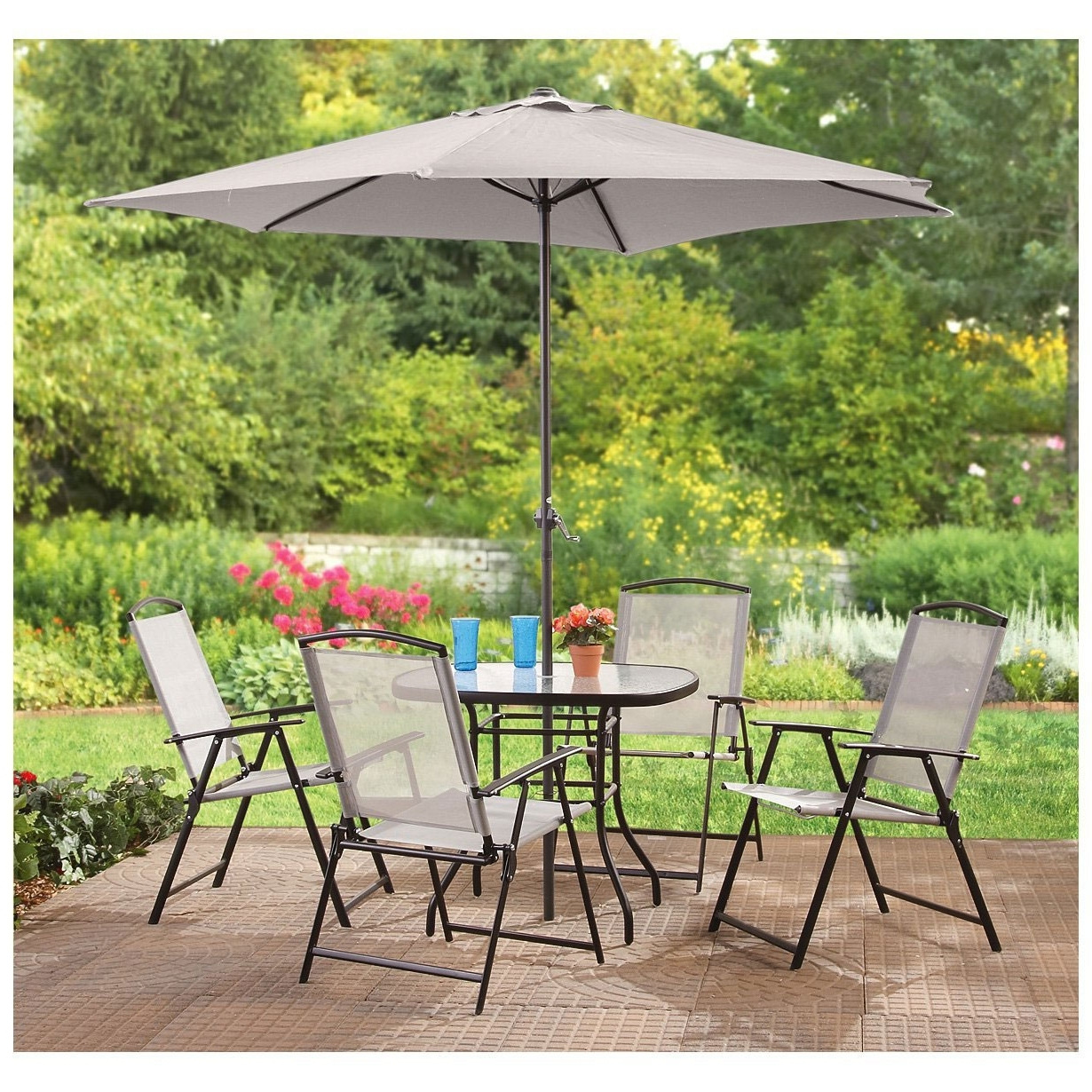 Round Outdoor Dining Table With Umbrella Patio Furniture Sets For 6 Intended For Famous Patio Dining Sets With Umbrellas (Gallery 15 of 20)