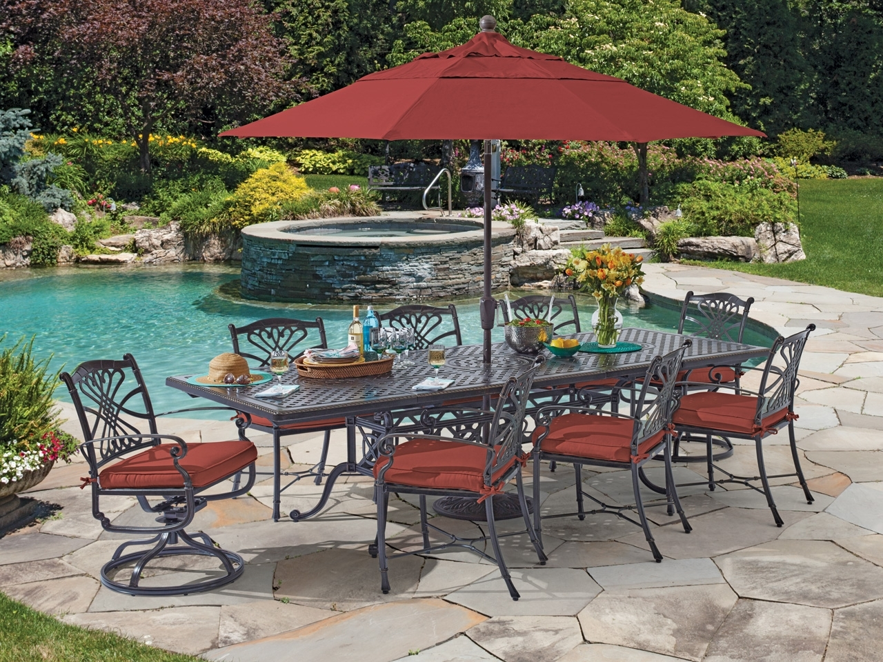 Round Patio Dining Sets With Umbrella Home Depot Sams Club Furniture Within Most Popular Sams Club Patio Umbrellas (Gallery 16 of 20)