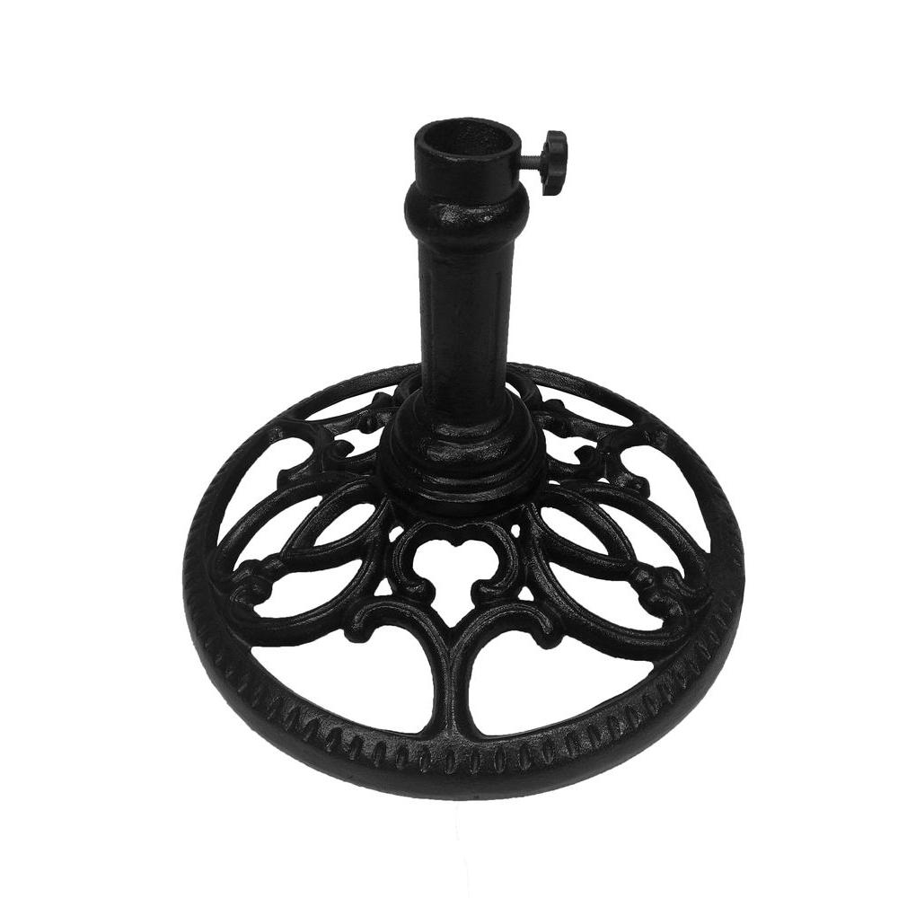 Round Patio Umbrella Base Hd4101 Bk – The Home Depot Within Well Known Patio Umbrella Stands With Wheels (View 16 of 20)