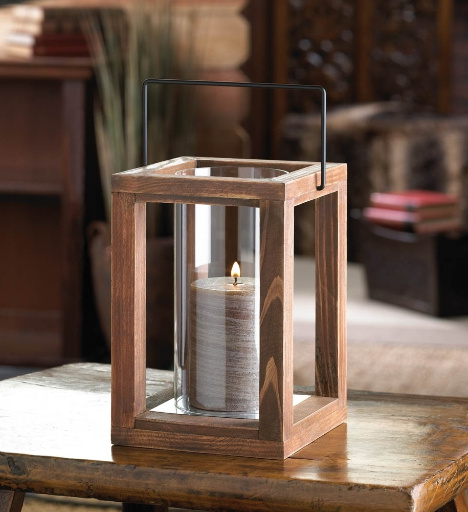 Rustic Garden Wooden Lantern – Walmart In Favorite Outdoor Hurricane Lanterns (View 18 of 20)