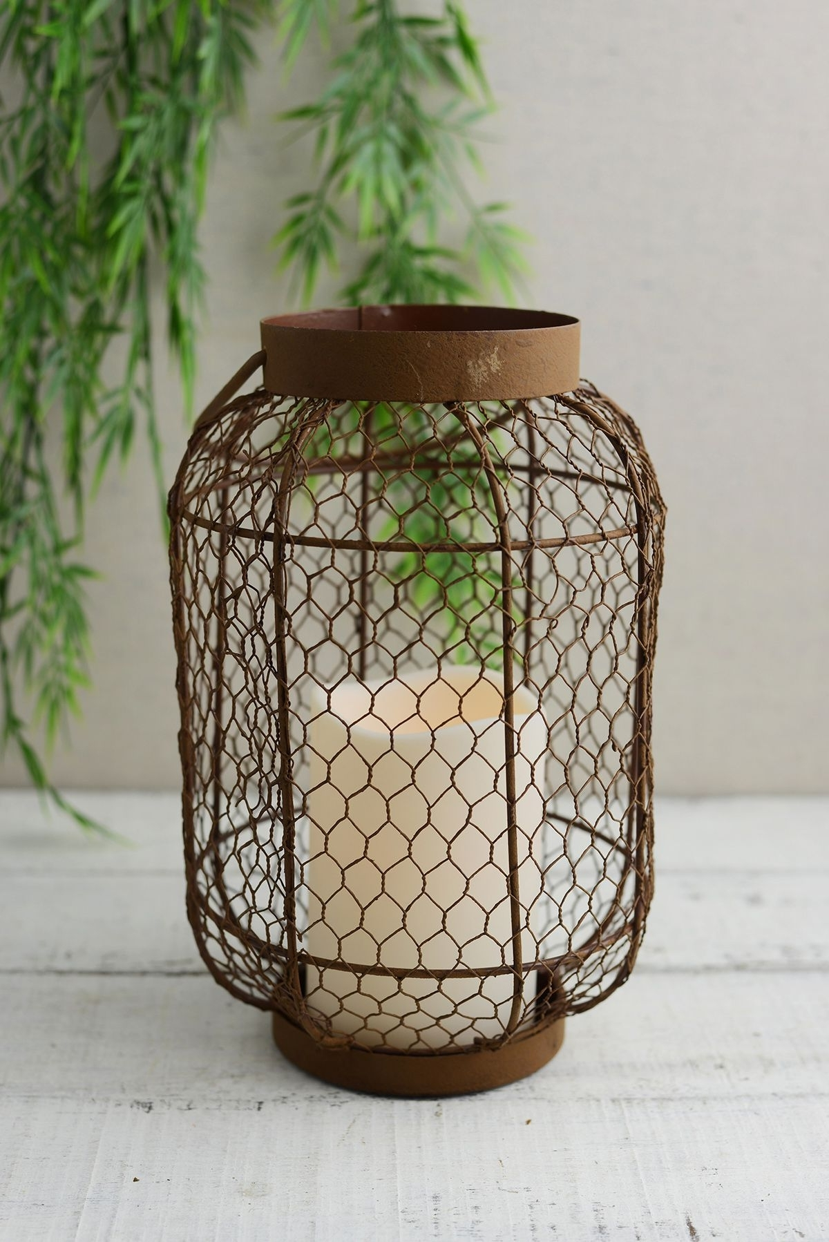 Rustic Metal Lantern W/ Flameless Led Resin Candle Light, Timer With Regard To Recent Resin Outdoor Lanterns (Gallery 19 of 20)